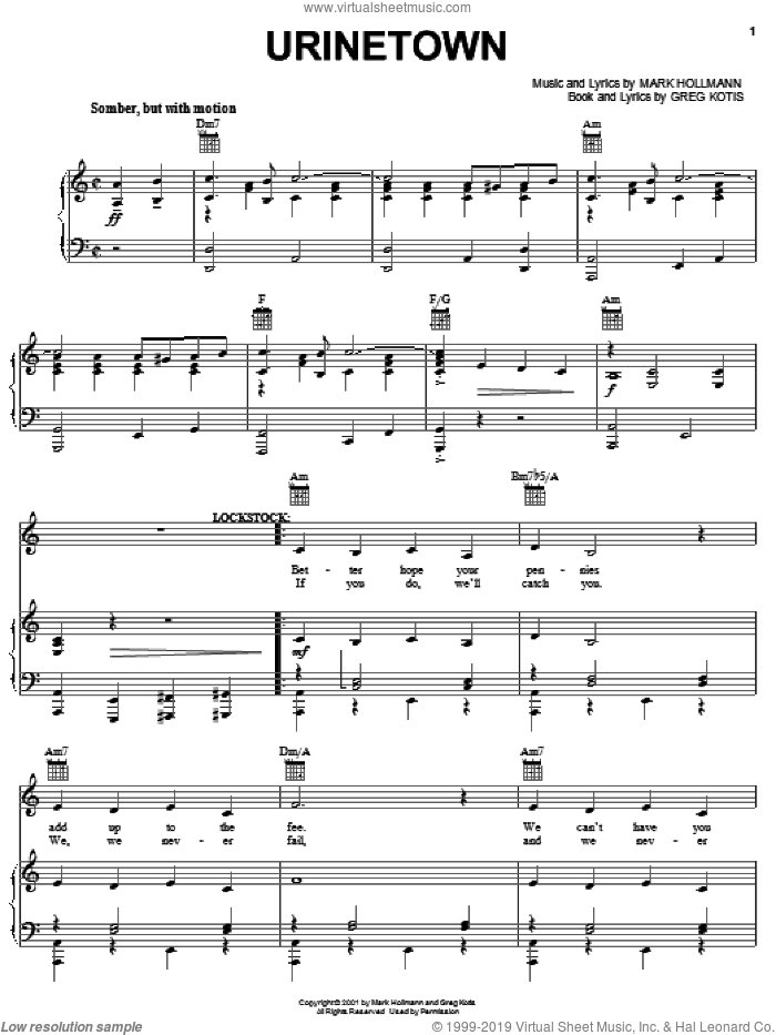 Urinetown sheet music for voice, piano or guitar by Urinetown (Musical), Greg Kotis and Mark Hollmann, intermediate voice, piano or guitar. Score Image Preview.