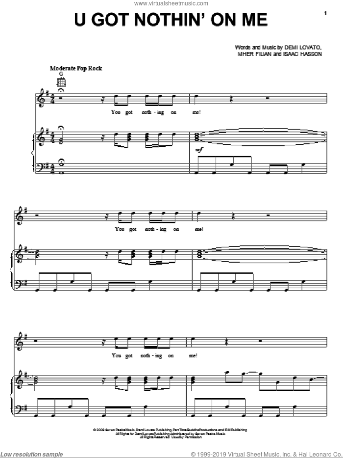 U Got Nothin' On Me sheet music for voice, piano or guitar by Demi Lovato, intermediate. Score Image Preview.
