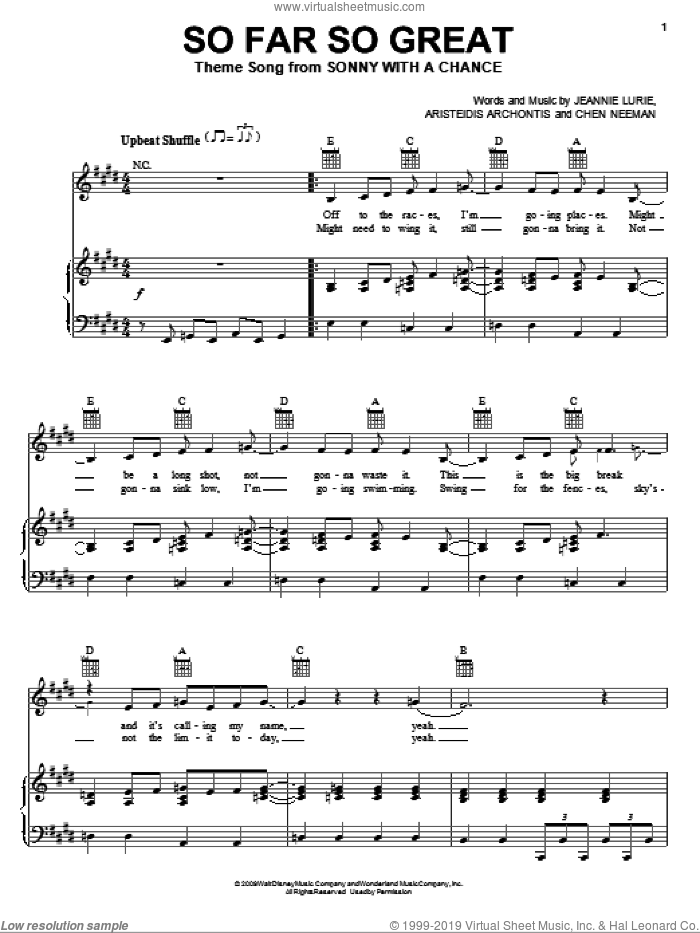 So Far So Great sheet music for voice, piano or guitar by Demi Lovato, Aristeidis Archontis, Chen Neeman and Jeannie Lurie, intermediate skill level