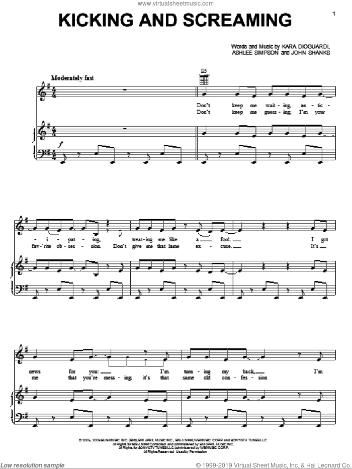 Kicking And Screaming sheet music for voice, piano or guitar by John Shanks, Miley Cyrus, Ashlee Simpson and Kara DioGuardi. Score Image Preview.