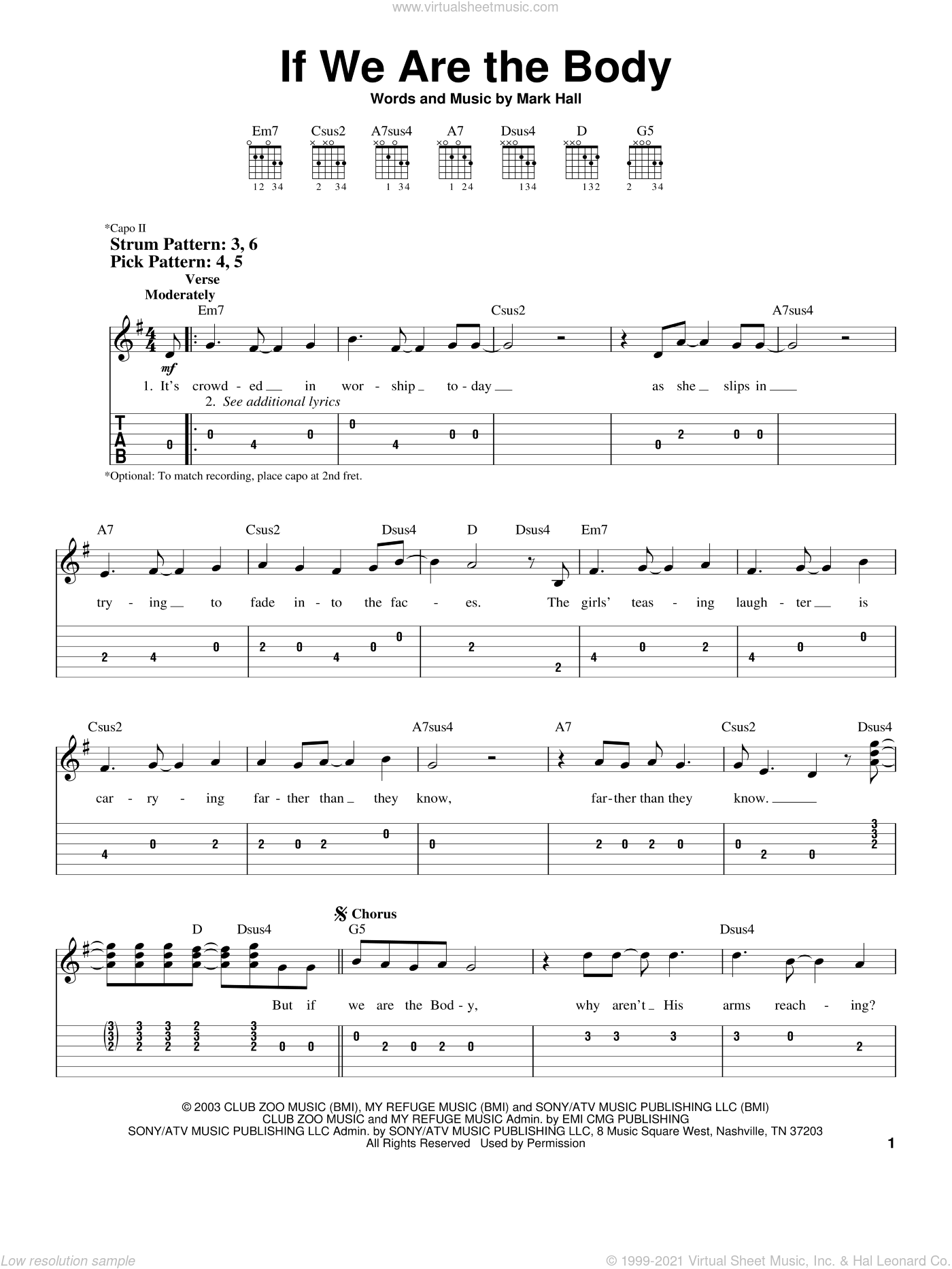 If We Are The Body sheet music for guitar solo (easy tablature) by Casting Crowns and Mark Hall. Score Image Preview.