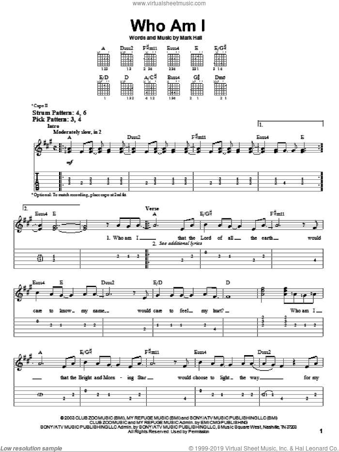 Who Am I sheet music for guitar solo (easy tablature) by Mark Hall and Casting Crowns. Score Image Preview.