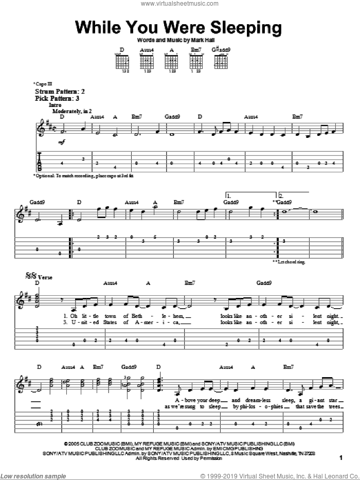 While You Were Sleeping sheet music for guitar solo (easy tablature) by Mark Hall