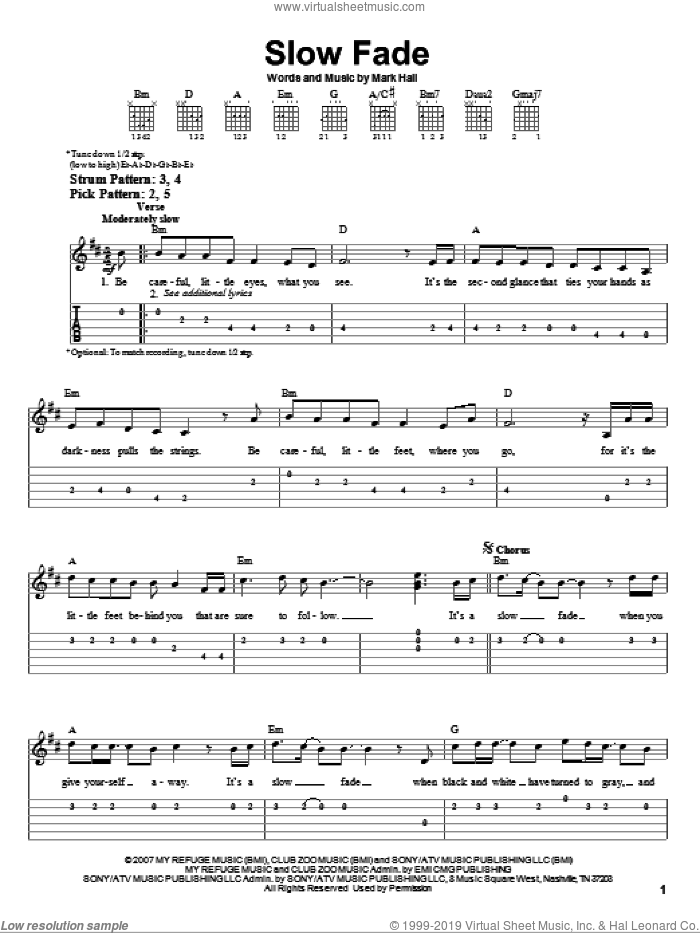 Slow Fade sheet music for guitar solo (easy tablature) by Mark Hall and Casting Crowns