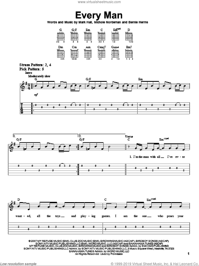 Every Man sheet music for guitar solo (easy tablature) by Nichole Nordeman, Casting Crowns, Bernie Herms and Mark Hall. Score Image Preview.