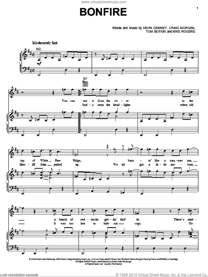 Bonfire sheet music for voice, piano or guitar by Tom Botkin. Score Image Preview.