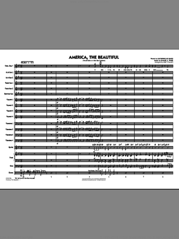 America, The Beautiful (COMPLETE) sheet music for jazz band by Samuel Augustus Ward, Katherine Lee Bates and Mike Tomaro, intermediate. Score Image Preview.