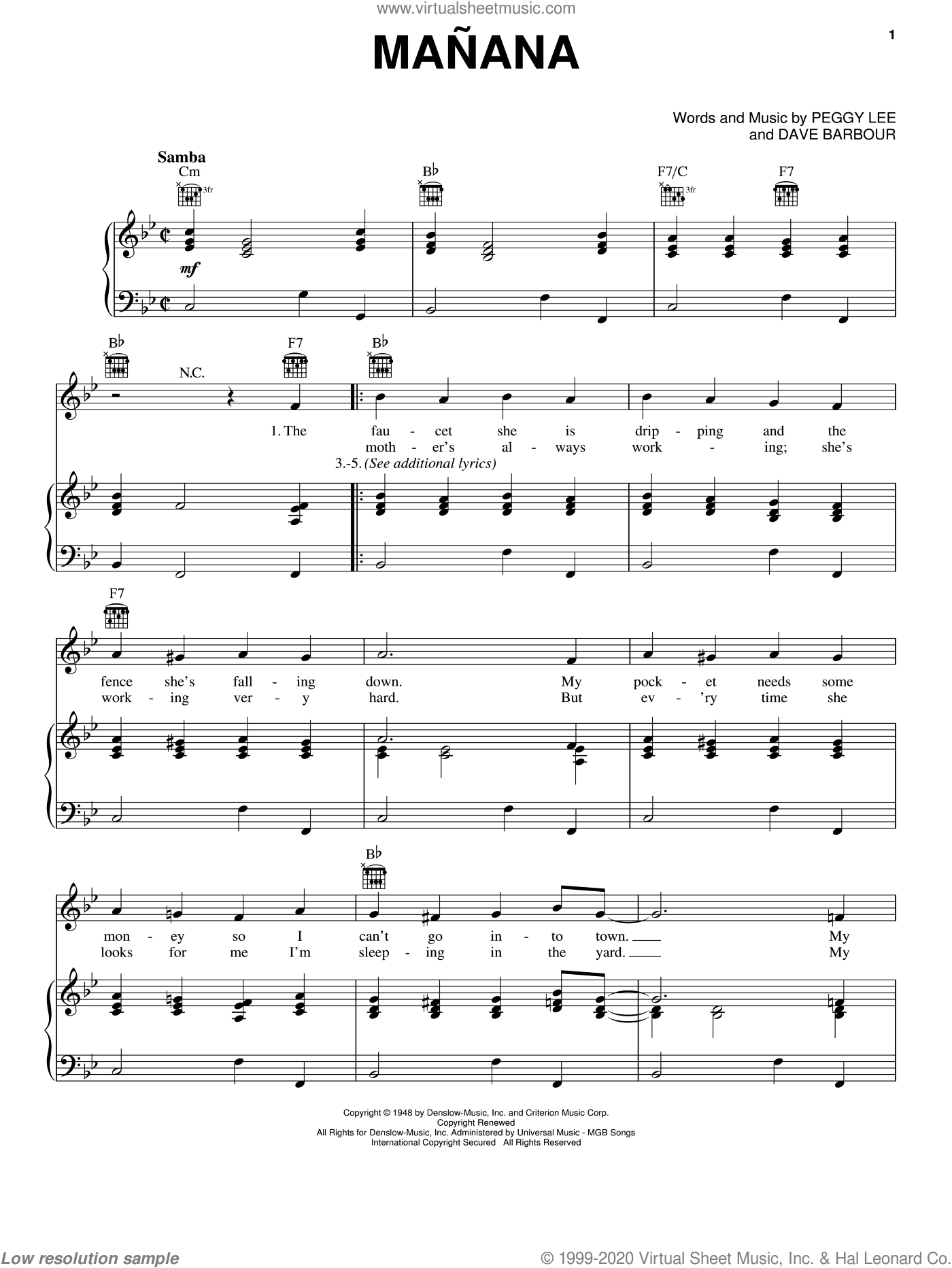 Manana sheet music for voice, piano or guitar by Dave Barbour and Peggy Lee. Score Image Preview.