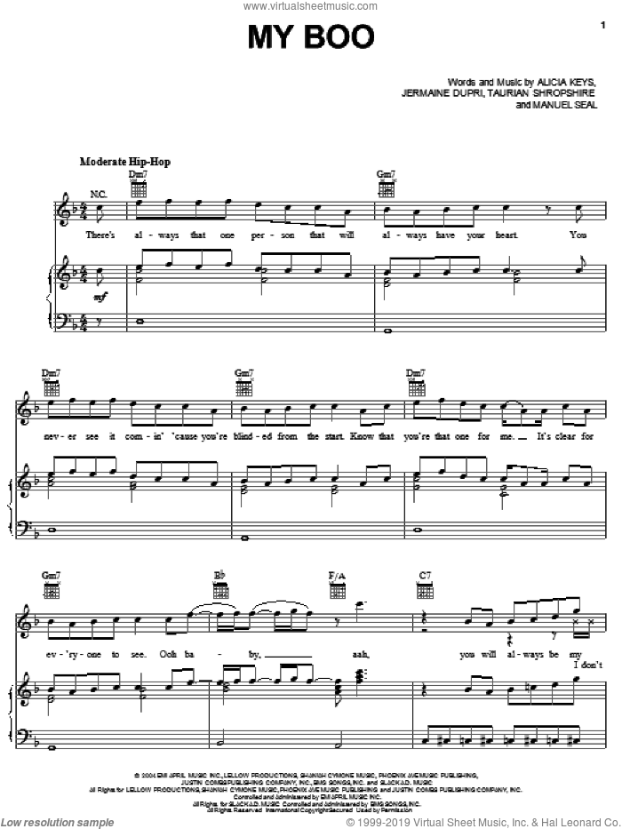 My Boo sheet music for voice, piano or guitar by Usher & Alicia Keys, Gary Usher, Alicia Keys, Jermaine Dupri and Manuel Seal. Score Image Preview.