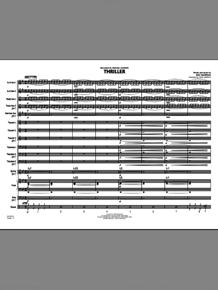 Thriller (COMPLETE) sheet music for jazz band by Paul Murtha, Rod Temperton and Michael Jackson, intermediate
