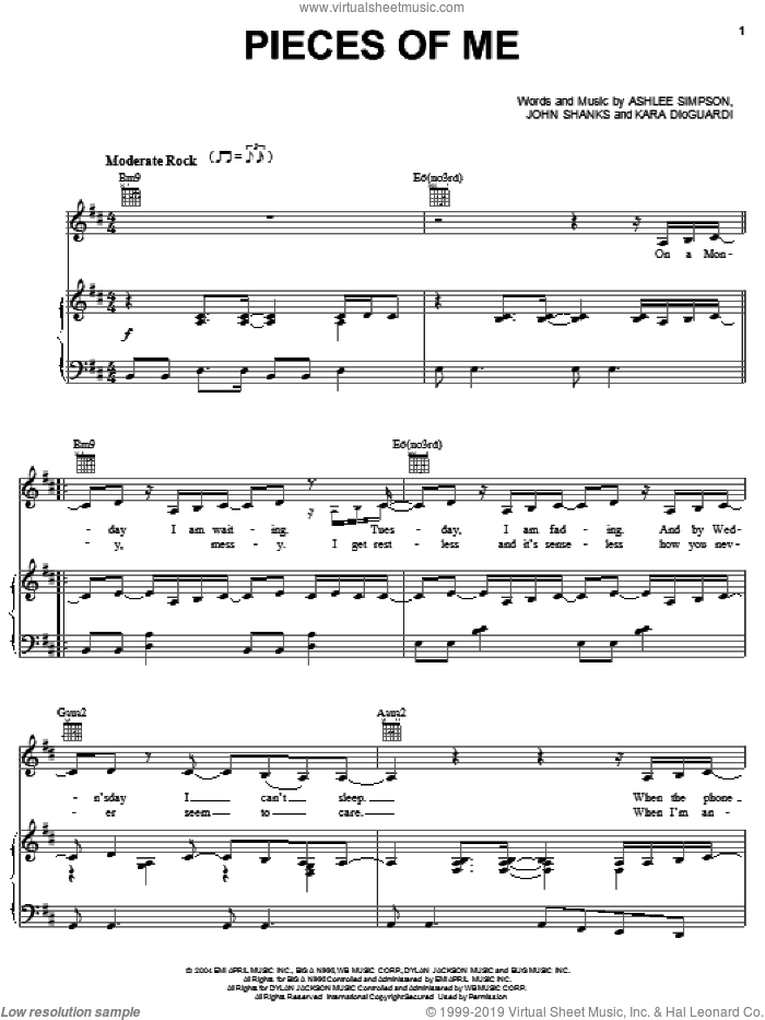 Pieces Of Me sheet music for voice, piano or guitar by Ashlee Simpson, Kara DioGuardi and John Shanks, intermediate
