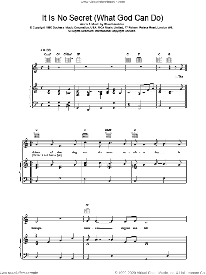 It Is No Secret (What God Can Do) sheet music for voice, piano or guitar by Stuart Hamblen, Elvis Presley, Mahalia Jackson and Willie Nelson. Score Image Preview.