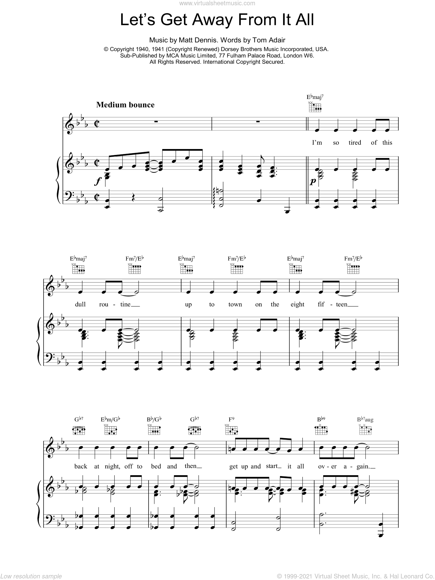 Let's Get Away From It All sheet music for voice, piano or guitar by Tom Adair and Frank Sinatra. Score Image Preview.