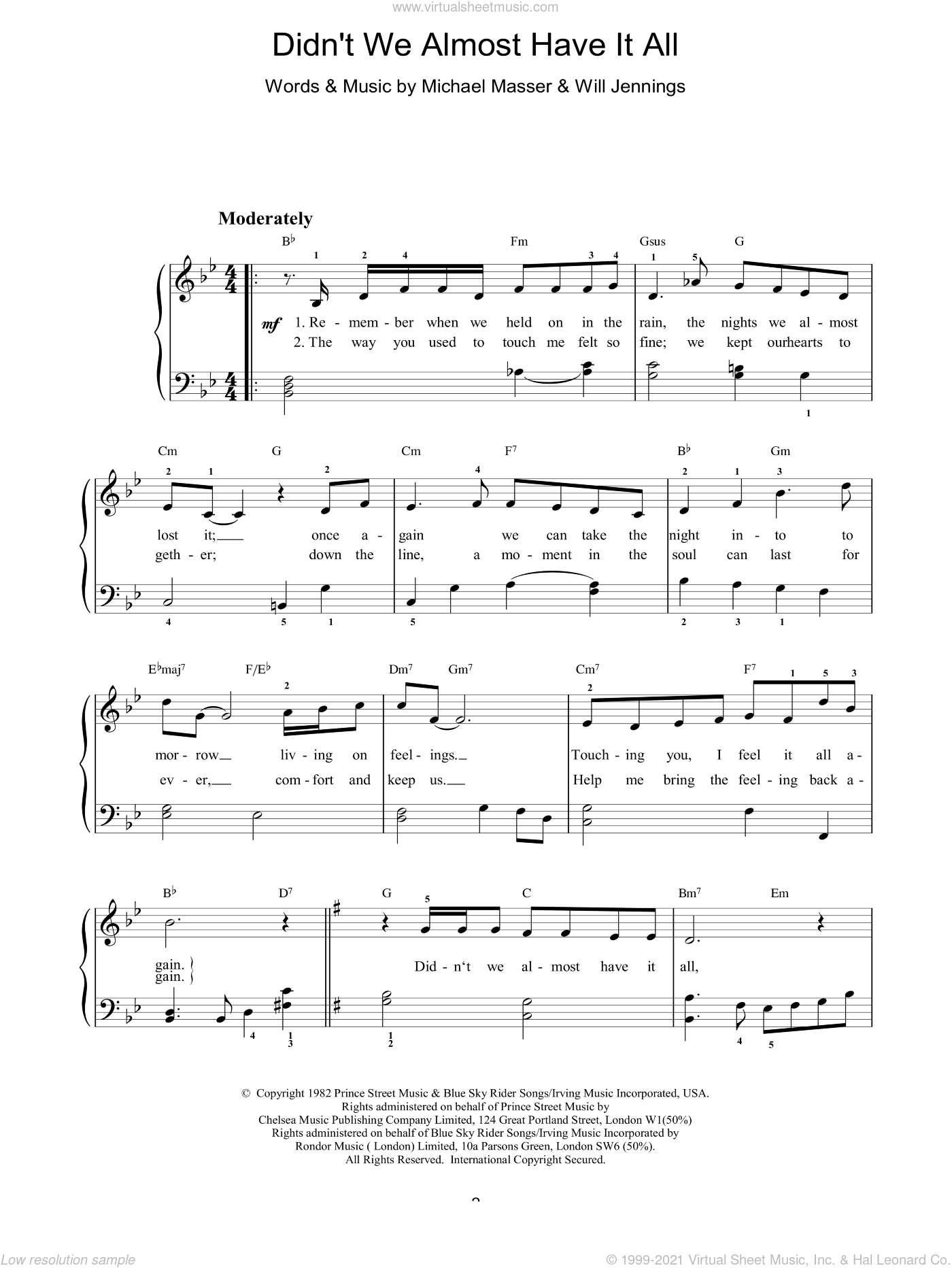 Didn't We Almost Have It All sheet music for voice, piano or guitar