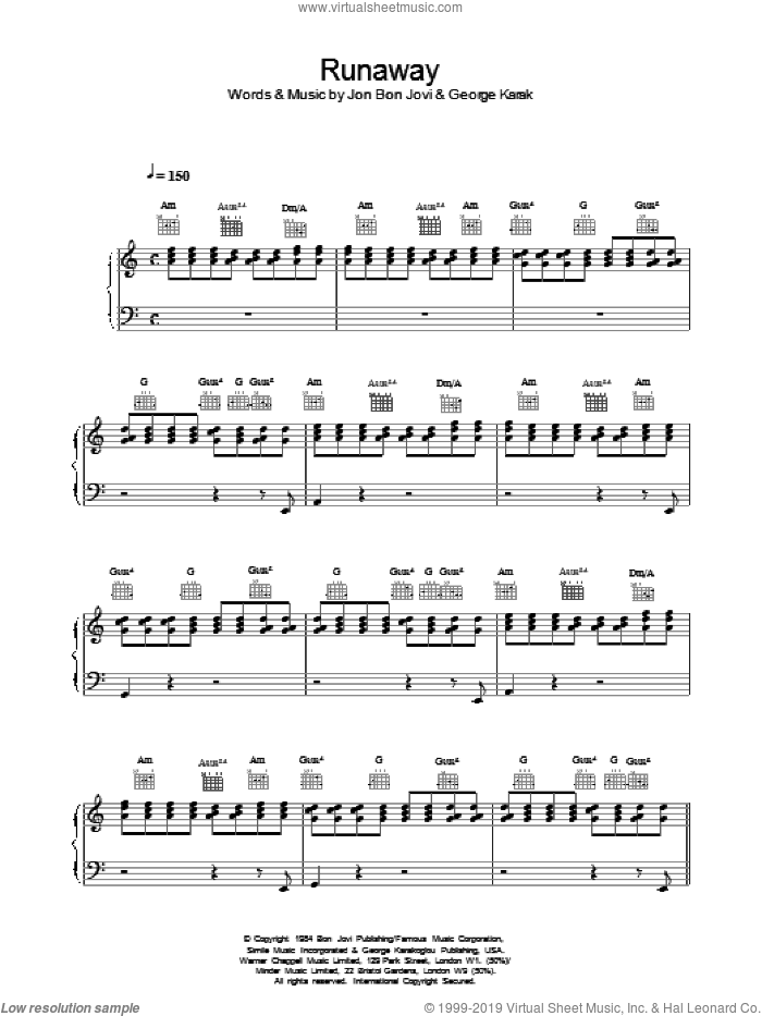 Runaway sheet music for voice, piano or guitar by George Karakoglou and Bon Jovi. Score Image Preview.