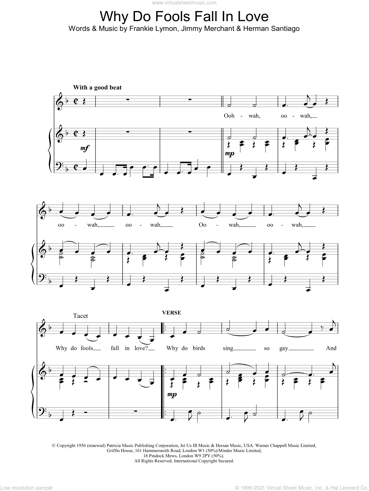 Why Do Fools Fall In Love sheet music for voice, piano or guitar by Frankie Lymon, intermediate skill level