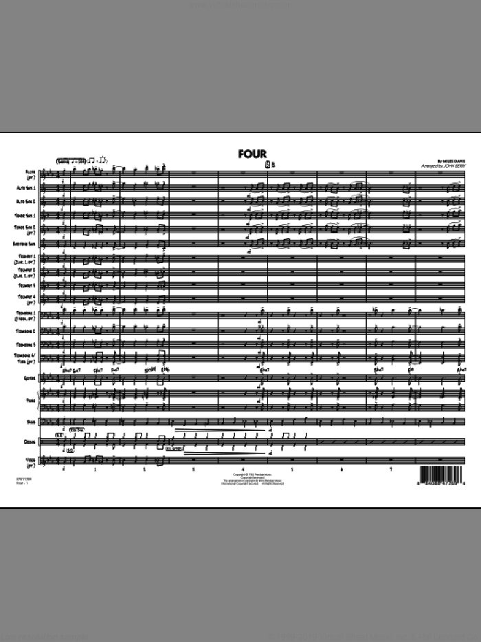 Four (COMPLETE) sheet music for jazz band by Miles Davis and John Berry, intermediate. Score Image Preview.