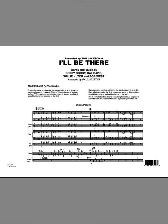 I'll Be There (COMPLETE) sheet music for jazz band by Berry Gordy, Bob West, Hal Davis, Willie Hutch, Mariah Carey, Paul Murtha and The Jackson 5, intermediate skill level