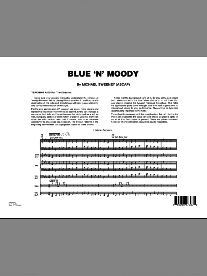 Blue 'N' Moody (COMPLETE) sheet music for jazz band by Michael Sweeney, intermediate. Score Image Preview.