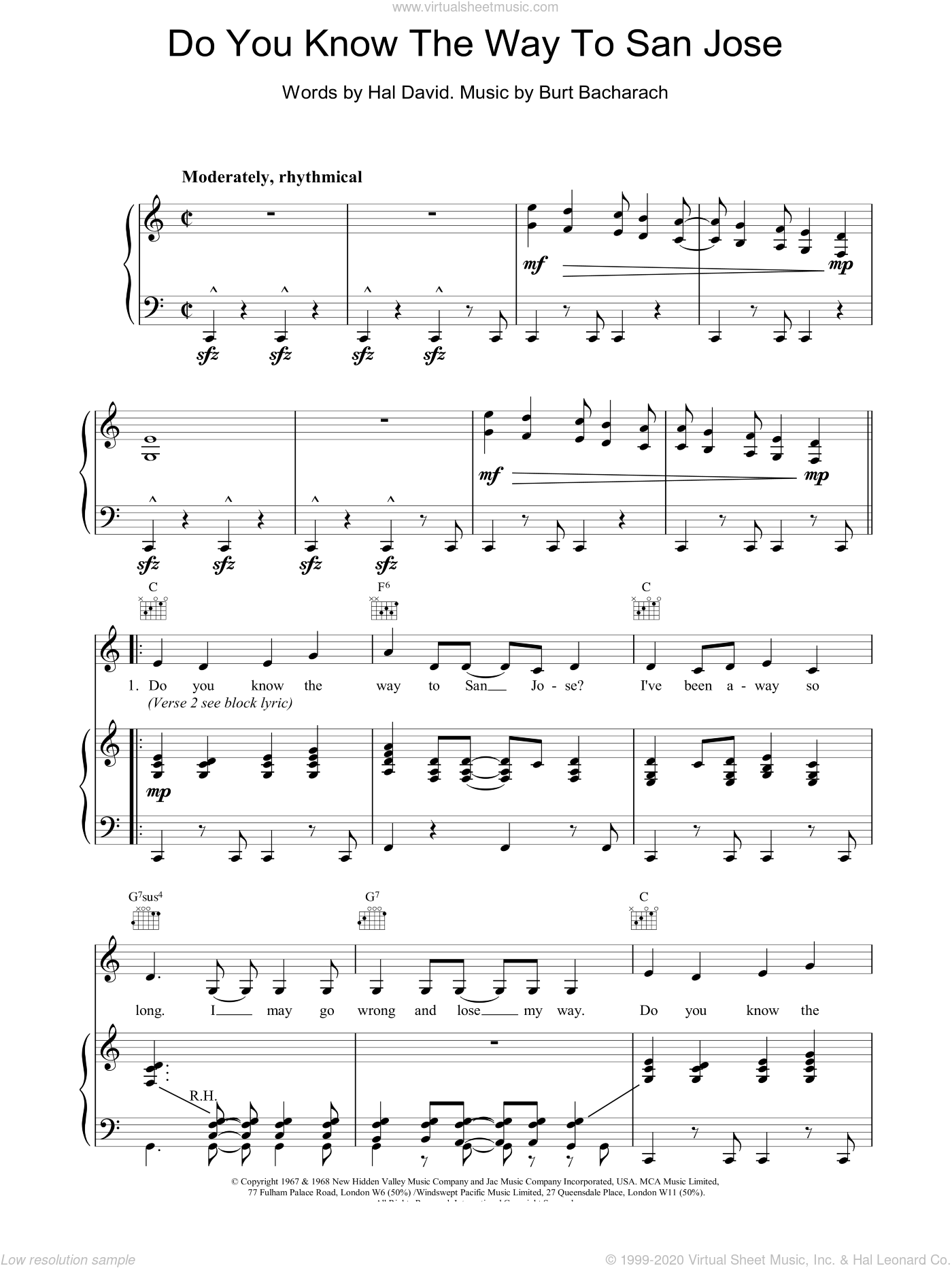 Do You Know The Way To San Jose sheet music for voice, piano or guitar by Burt Bacharach. Score Image Preview.