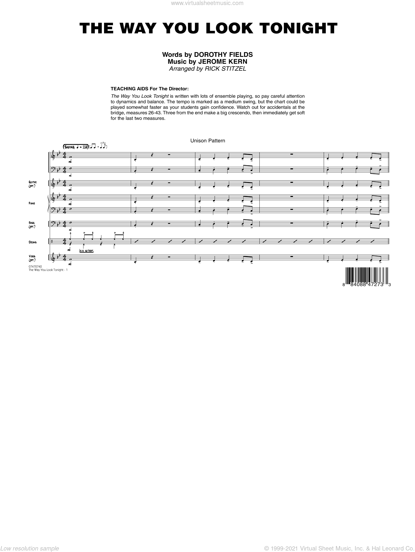 The Way You Look Tonight sheet music for jazz band (full score) by Dorothy Fields