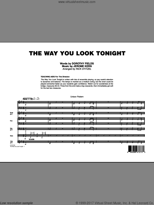 The Way You Look Tonight (COMPLETE) sheet music for jazz band by Dorothy Fields