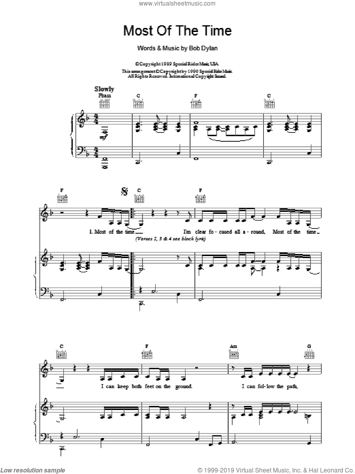Most Of The Time sheet music for voice, piano or guitar by Bob Dylan, intermediate. Score Image Preview.
