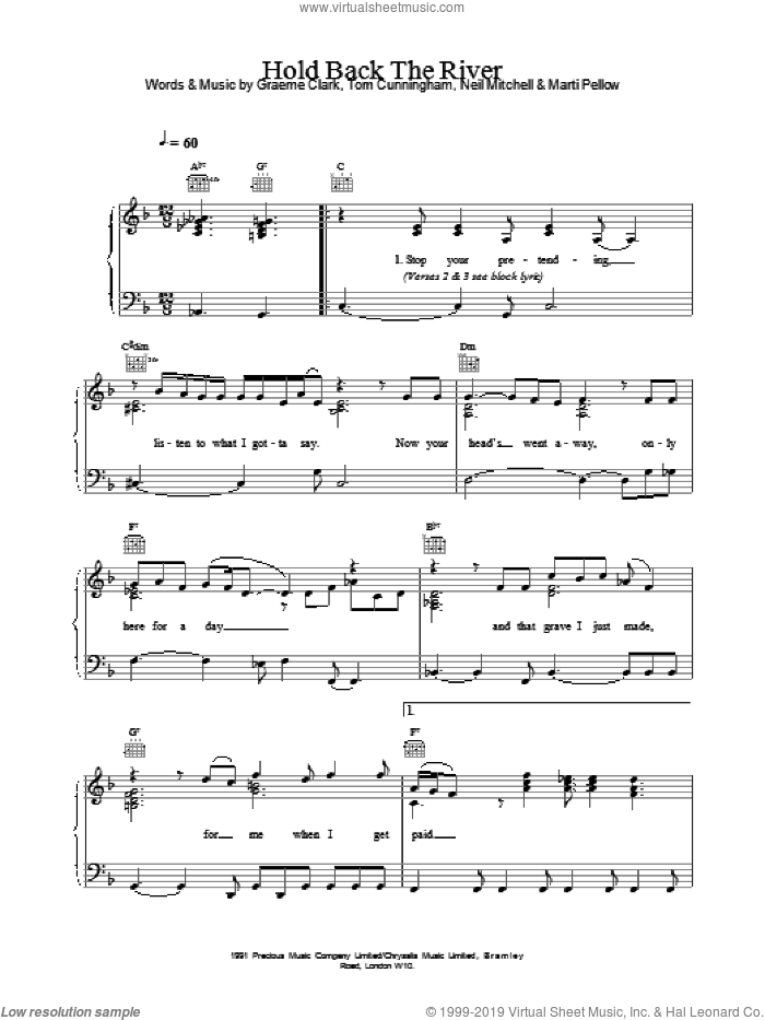 Hold Back The River sheet music for voice, piano or guitar by Tom Cunningham and Wet Wet Wet. Score Image Preview.