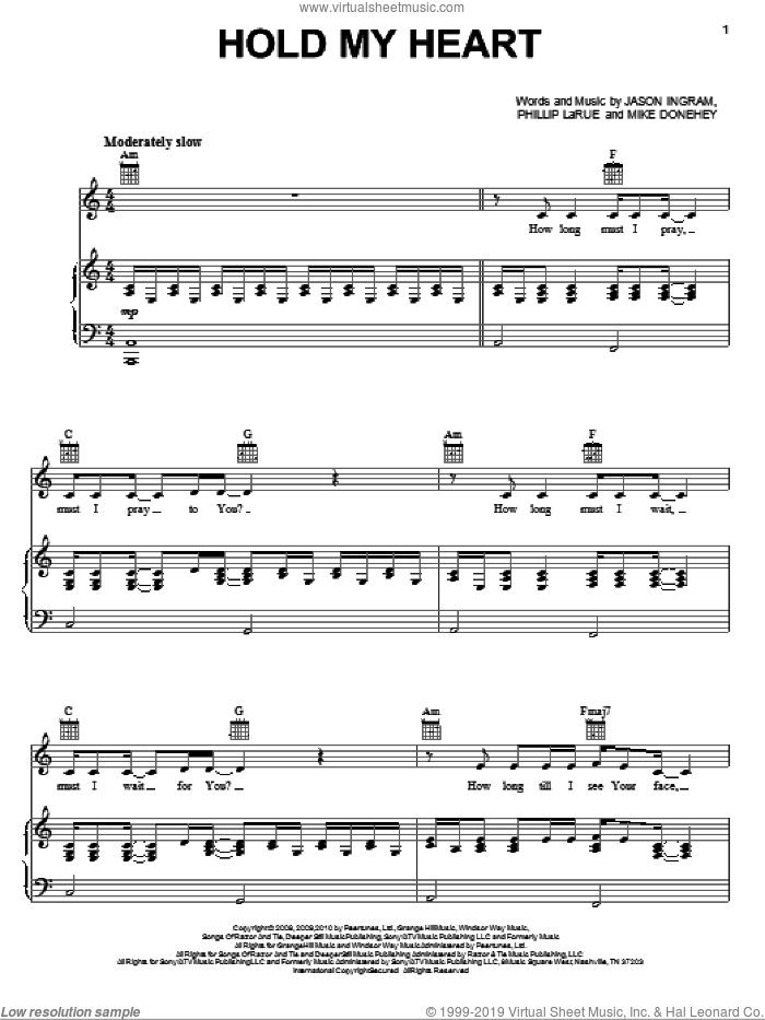 Hold My Heart sheet music for voice, piano or guitar by Phillip Larue, Tenth Avenue North, Jason Ingram and Mike Donehey. Score Image Preview.
