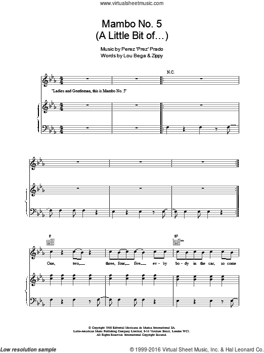 Mambo No. 5 (A Little Bit Of...) sheet music for voice, piano or guitar by Perez Prado