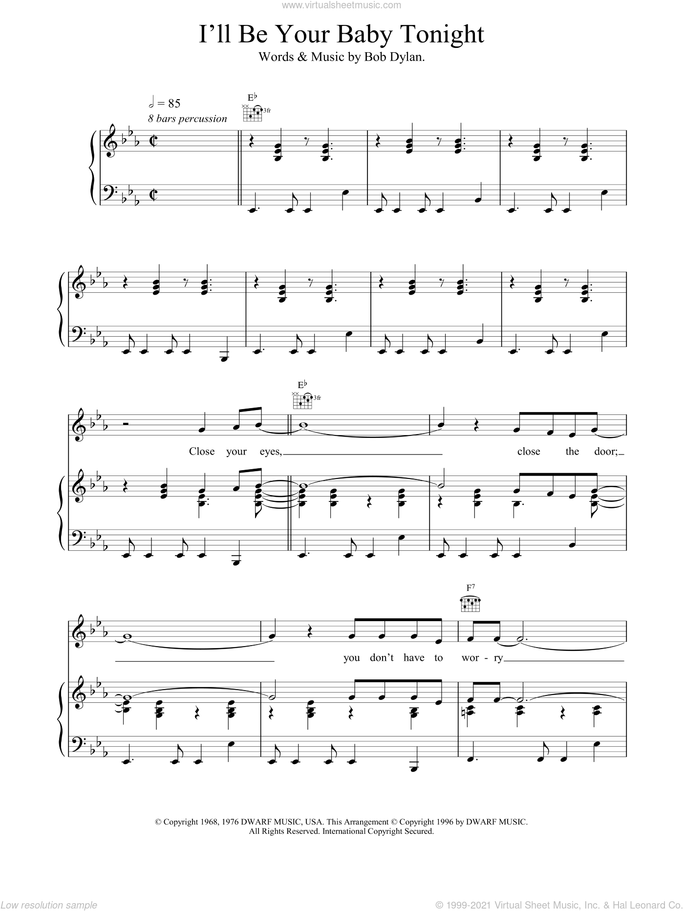 I'll Be Your Baby Tonight sheet music for voice, piano or guitar by Bob Dylan, Robert Palmer and UB40, intermediate. Score Image Preview.