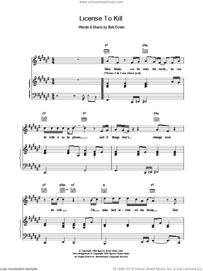 Licence To Kill sheet music for voice, piano or guitar by Bob Dylan, intermediate voice, piano or guitar. Score Image Preview.