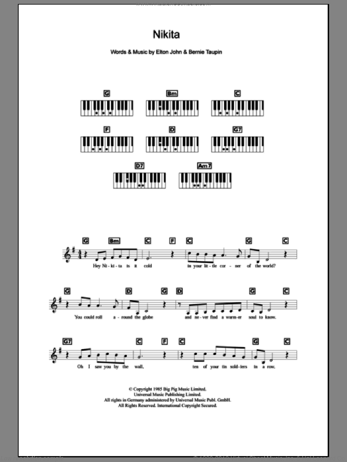 Nikita sheet music for piano solo (chords, lyrics, melody) by Elton John and Bernie Taupin. Score Image Preview.