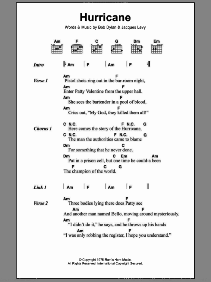 Hurricane sheet music for guitar (chords) by Jacques Levy and Bob Dylan. Score Image Preview.