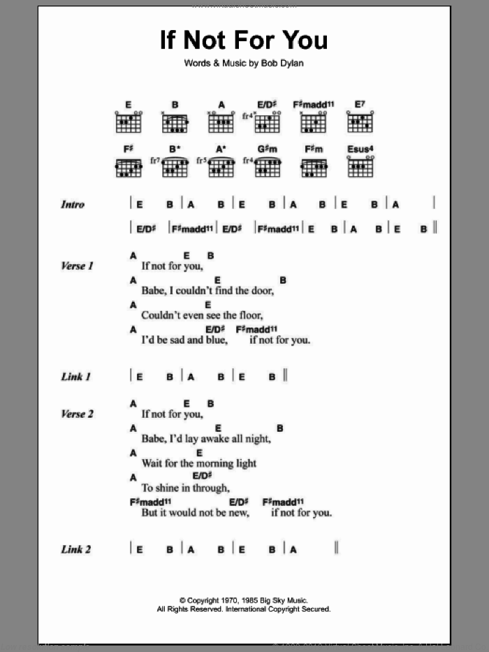 If Not For You sheet music for guitar (chords) by Bob Dylan, intermediate skill level