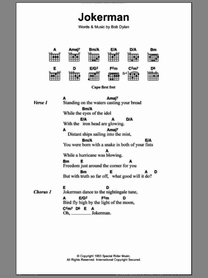 Jokerman sheet music for guitar (chords) by Bob Dylan, intermediate. Score Image Preview.