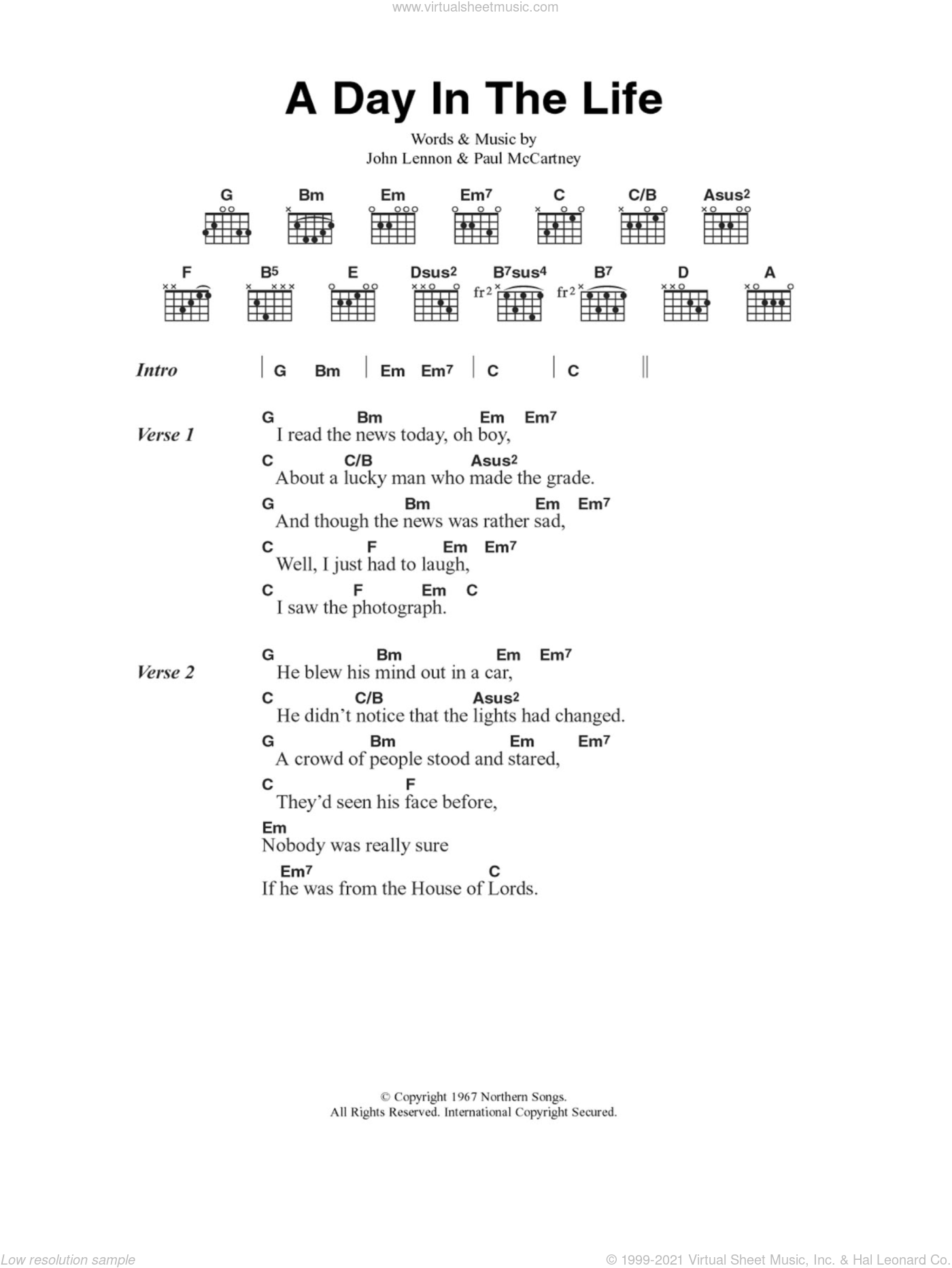 A Day In The Life sheet music for guitar (chords) by The Beatles, John Lennon and Paul McCartney, intermediate skill level