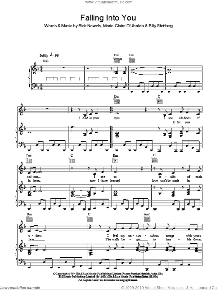 Falling Into You sheet music for voice, piano or guitar by Celine Dion, Billy Steinberg and Rick Nowels. Score Image Preview.