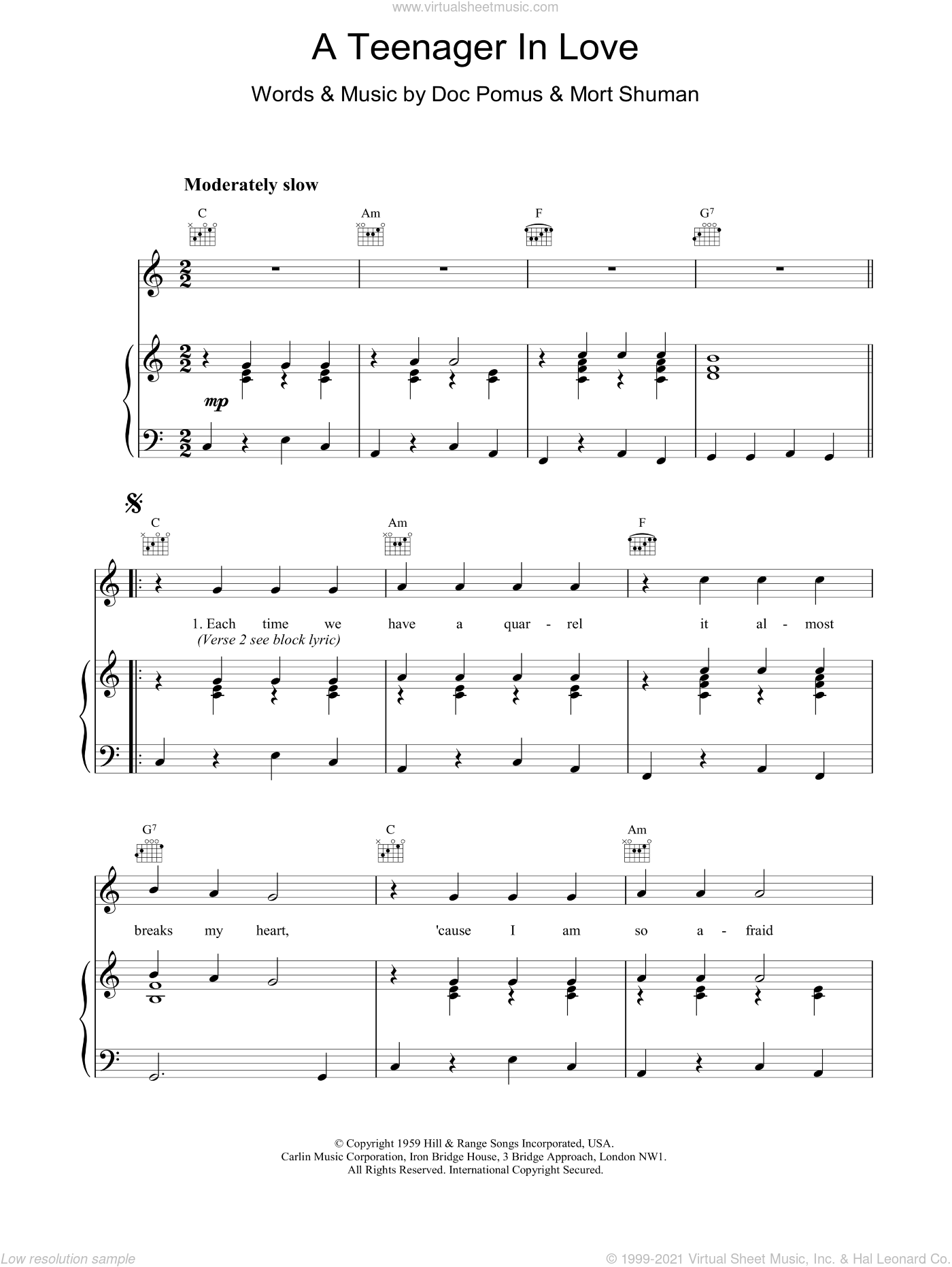 A Teenager In Love sheet music for voice, piano or guitar by Dion & The Belmonts, Doc Pomus and Mort Shuman. Score Image Preview.