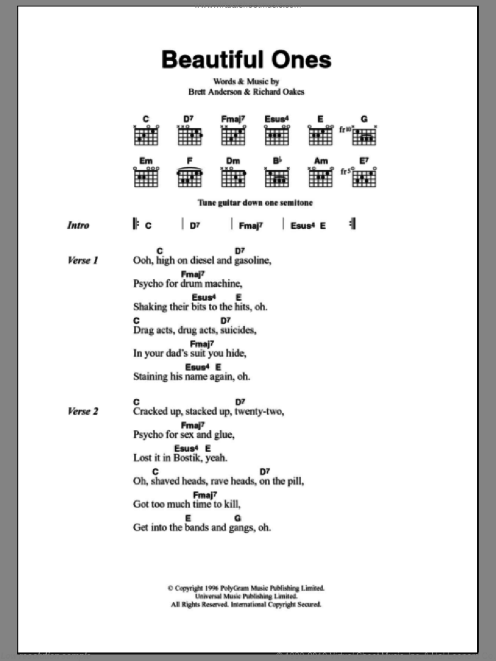 Beautiful Ones sheet music for guitar (chords) by Suede, intermediate. Score Image Preview.