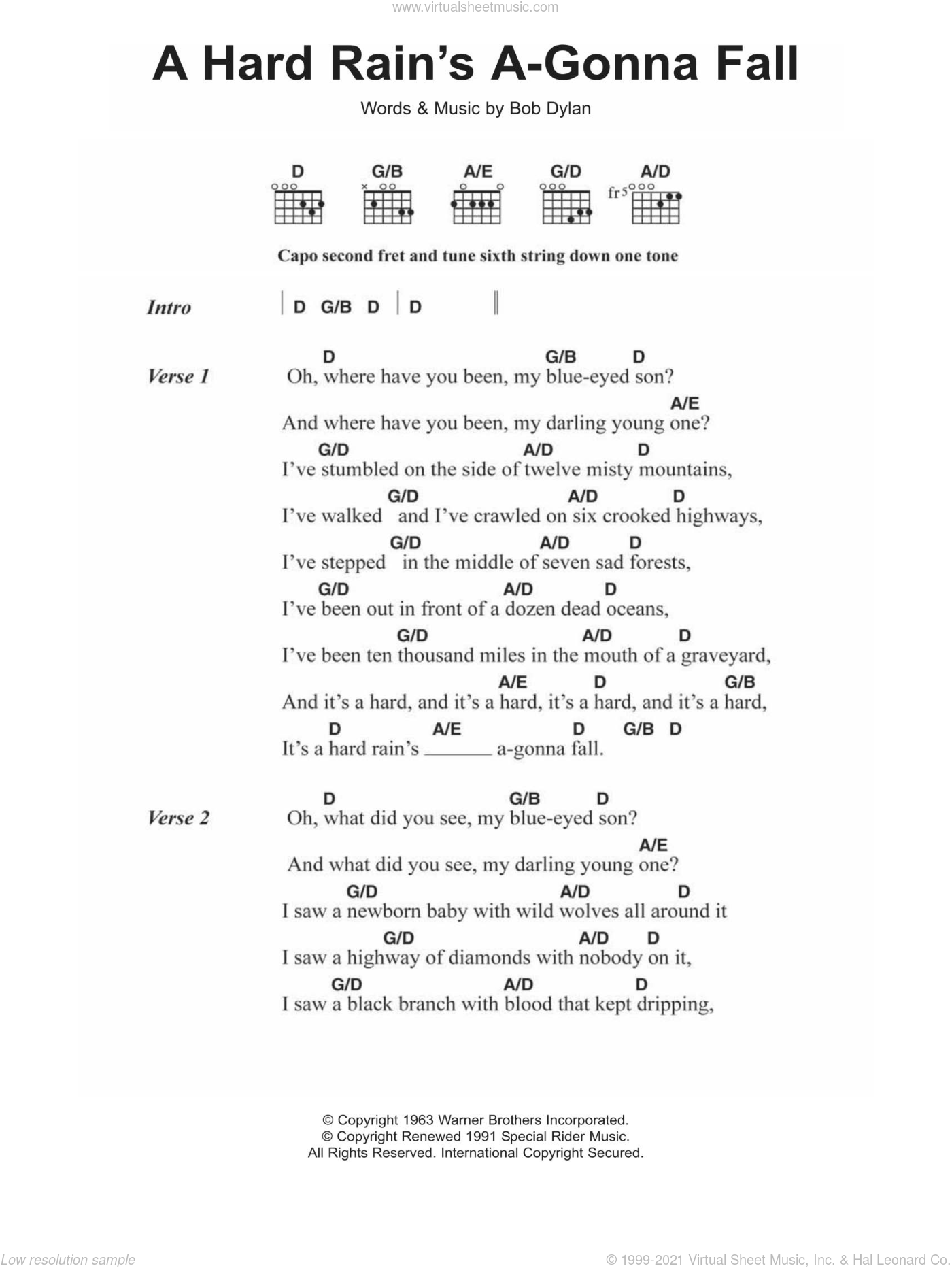 Dylan - A Hard Rain\'s A-Gonna Fall sheet music for guitar (chords)