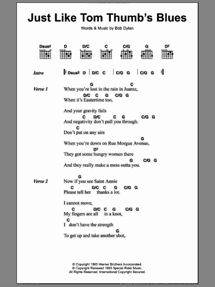 Dylan - Just Like Tom Thumb\'s Blues sheet music for guitar (chords)