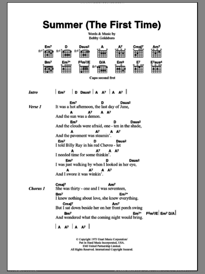 Goldsboro Summer The First Time Sheet Music For Guitar Chords