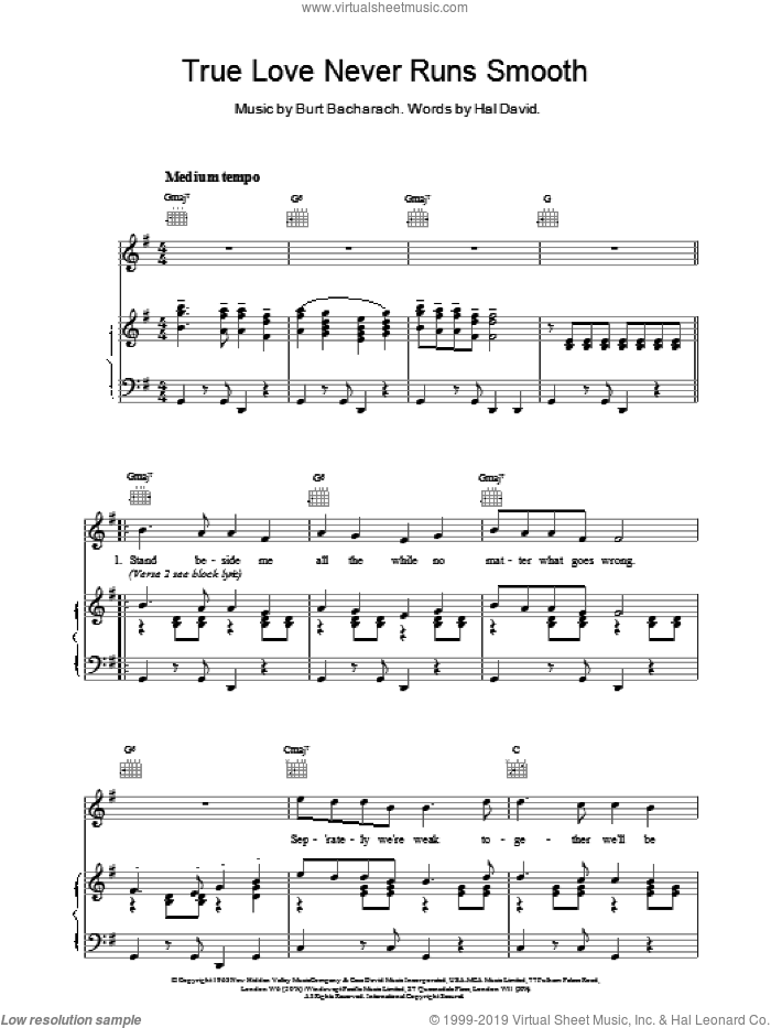 True Love Never Runs Smooth sheet music for voice, piano or guitar by Hal David and Burt Bacharach. Score Image Preview.