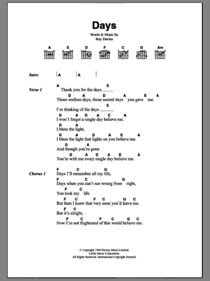Days sheet music for guitar (chords) by The Kinks and Ray Davies, intermediate. Score Image Preview.