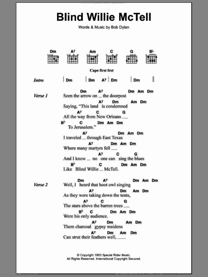 Blind Willie McTell sheet music for guitar (chords) by Bob Dylan, intermediate guitar (chords). Score Image Preview.