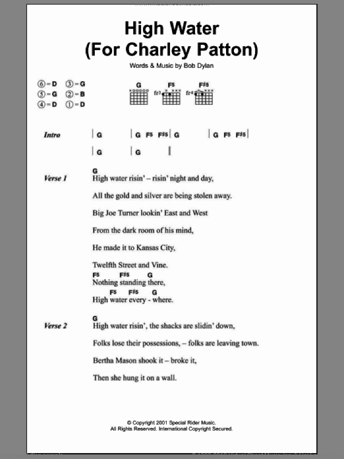 High Water (For Charley Patton) sheet music for guitar (chords) by Bob Dylan, intermediate guitar (chords). Score Image Preview.