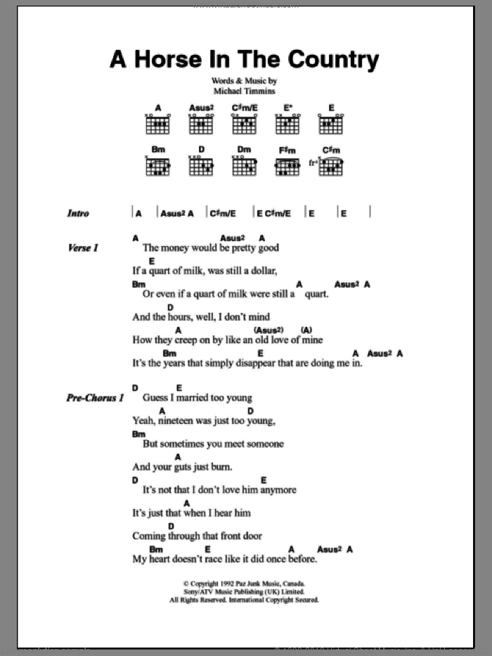 A Horse In The Country sheet music for guitar (chords) by Michael Timmins
