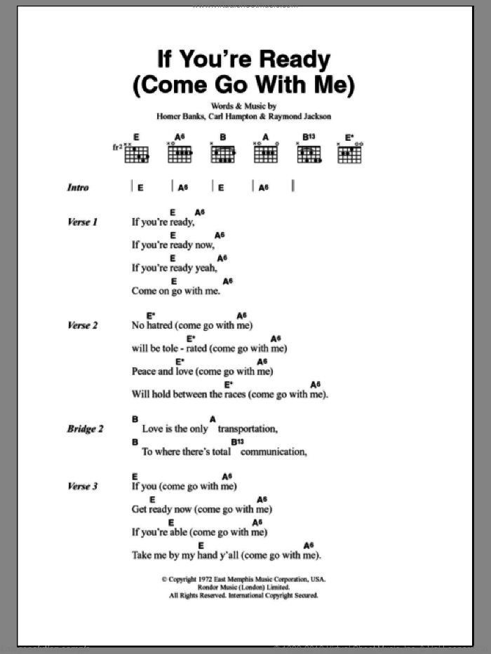 Singers - If You\'re Ready (Come Go With Me) sheet music for guitar ...