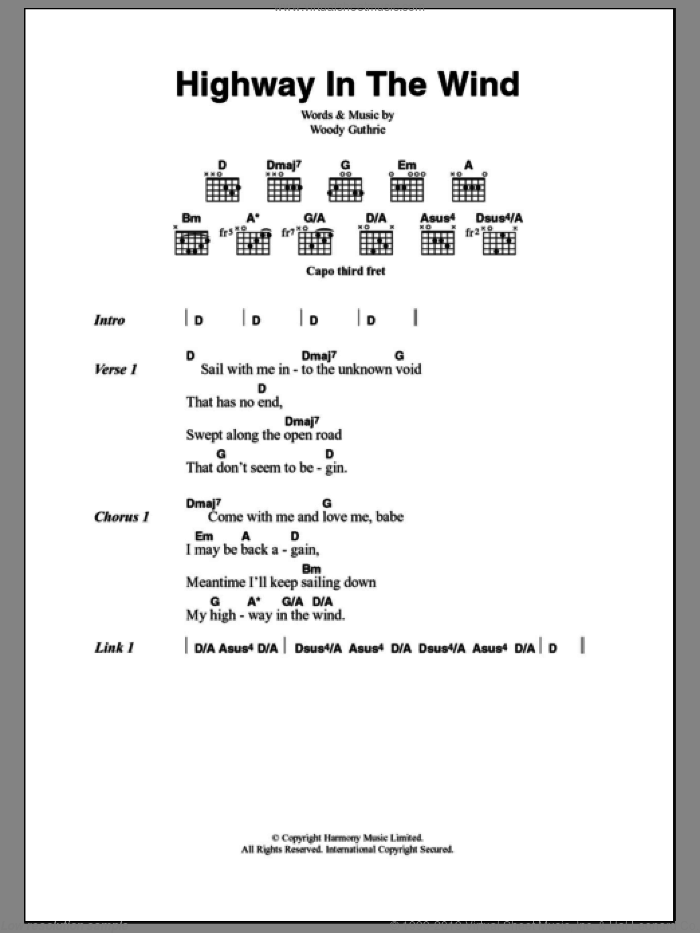 Highway In The Wind sheet music for guitar (chords, lyrics, melody) by Woody Guthrie